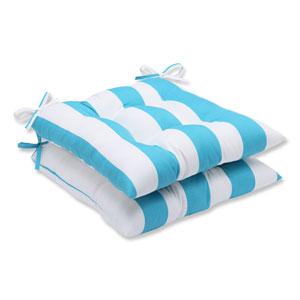 Cabana Stripe Turquoise Wrought Iron Outdoor Seat Cushion, Set of 2