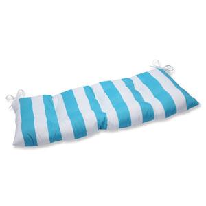 Cabana Stripe Turquoise Wrought Iron Outdoor Loveseat Cushion