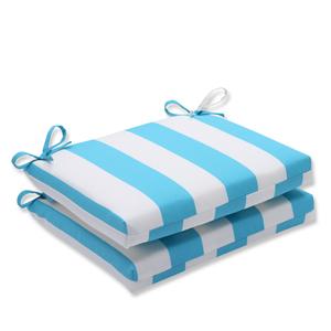 Cabana Stripe Turquoise Squared Corners Outdoor Seat Cushion, Set of 2