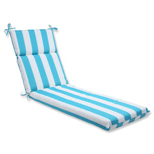 Cabana Stripe Turquoise Outdoor Chaise Lounge Cushion
