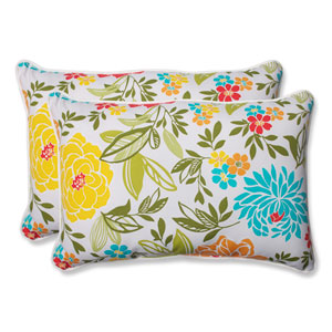 Spring Bling Multicolor Over-sized Rectangular Outdoor Throw Pillow, Set of 2