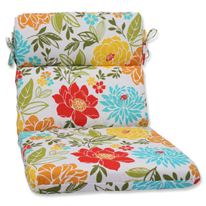 Spring Bling Multicolor Rounded Corners Outdoor Chair Cushion Cushion