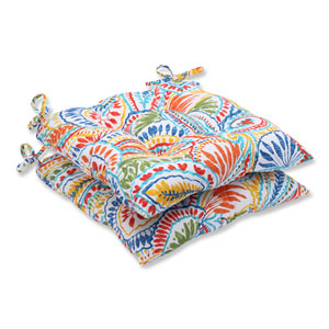 Ummi Multicolor Wrought Iron Outdoor Seat Cushion, Set of 2