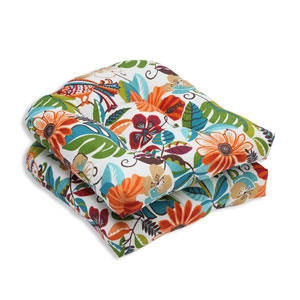 Outdoor Lensing Jungle Wicker Seat Cushion, Set of 2