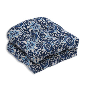 Outdoor Woodblock Prism Blue Wicker Seat Cushion, Set of 2