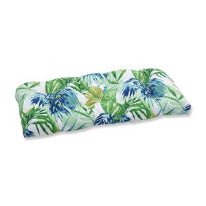 Outdoor Soleil Blue/Green Wicker Loveseat Cushion