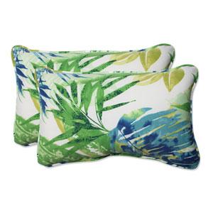 Outdoor Soleil Blue/Green Rectangular Throw Pillow, Set of 2