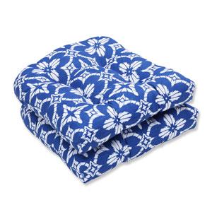 Outdoor Aspidoras Cobalt Wicker Seat Cushion, Set of 2