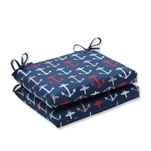 Outdoor Anchor Allover Arbor Navy Squared Corners Seat Cushion, Set of 2