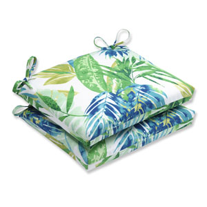 Outdoor Soleil Blue/Green Squared Corners Seat Cushion, Set of 2