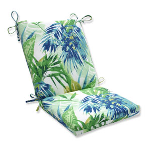 Outdoor Soleil Blue/Green Squared Corners Chair Cushion