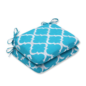 Outdoor Kobette Teal Rounded Corners Seat Cushion, Set of 2