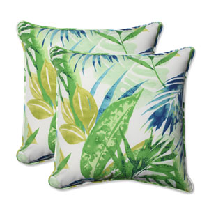 Outdoor Soleil Blue/Green 18.5-inch Throw Pillow, Set of 2