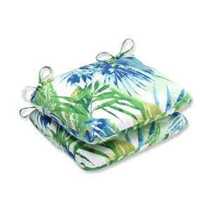Outdoor Soleil Blue/Green Rounded Corners Seat Cushion, Set of 2