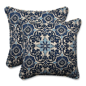 Outdoor Woodblock Prism Blue 18.5-inch Throw Pillow, Set of 2
