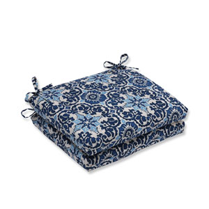Outdoor Woodblock Prism Blue Squared Corners Seat Cushion, Set of 2