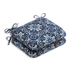Outdoor Woodblock Prism Blue Rounded Corners Seat Cushion, Set of 2