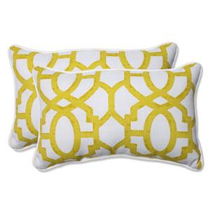 Outdoor Nunu Geo Wasabi Rectangular Throw Pillow, Set of 2
