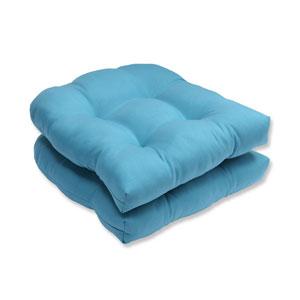 Outdoor Tweed Aqua Wicker Seat Cushion, Set of 2