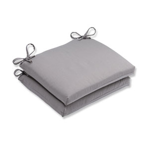 Outdoor Tweed Gray Squared Corners Seat Cushion, Set of 2