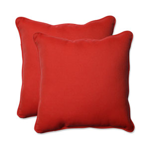 Outdoor Tweed Red 18.5-Inch Throw Pillow, Set of 2