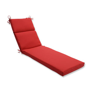 Outdoor Tweed Red Chaise Lounge Cushion