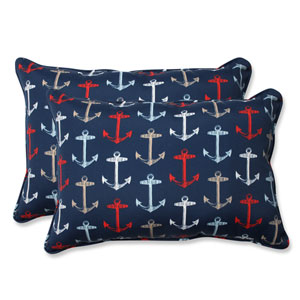 Outdoor Anchor Allover Arbor Navy Over-sized Rectangular Throw Pillow, Set of 2