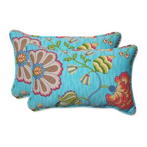 Outdoor Arabella Caribbean Blue Rectangular Throw Pillow, Set of 2