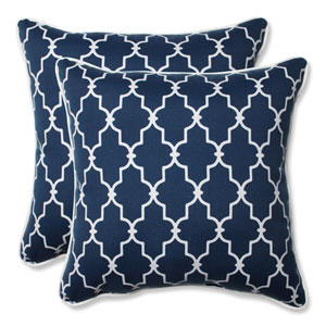 Outdoor Garden Gate Navy 18.5-Inch Throw Pillow, Set of 2