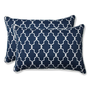 Outdoor Garden Gate Navy Over-sized Rectangular Throw Pillow, Set of 2