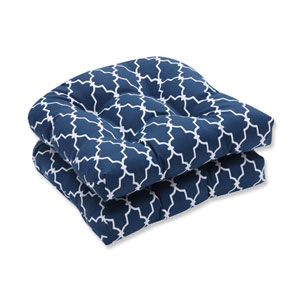 Outdoor Garden Gate Navy Wicker Seat Cushion, Set of 2
