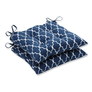 Outdoor Garden Gate Navy Wrought Iron Seat Cushion, Set of 2