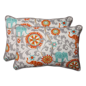 Outdoor Menagerie Cayenne Over-sized Rectangular Throw Pillow, Set of 2