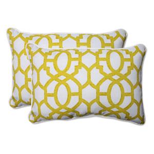 Outdoor Nunu Geo Wasabi Over-sized Rectangular Throw Pillow, Set of 2