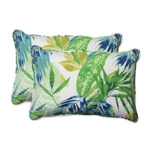 Outdoor Soleil Blue/Green Over-sized Rectangular Throw Pillow, Set of 2