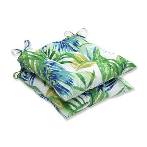 Outdoor Soleil Blue/Green Wrought Iron Seat Cushion, Set of 2