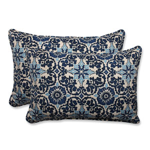 Outdoor Woodblock Prism Blue Over-sized Rectangular Throw Pillow, Set of 2