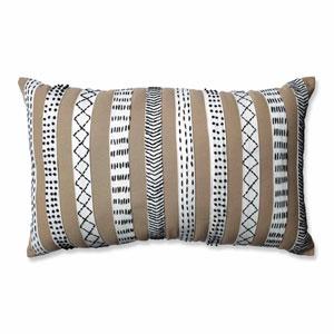 Tribal Bands Camel-Cream-Black Rectangular Throw Pillow