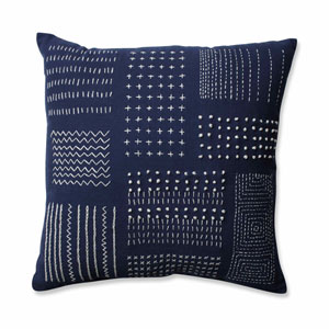 Tribal Sampler Navy-White 16.5-Inch Throw Pillow