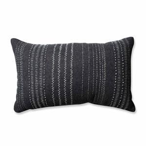 Tribal Stitches Felt Dark Melange Grey Rectangular Throw Pillow