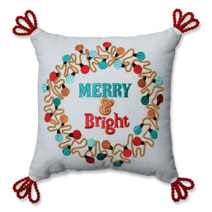 Christmas Lights Wreath Red-Aqua 11.5-inch Throw Pillow