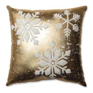 Glamour Snowflakes Gold-White 17.5-Inch Throw Pillow