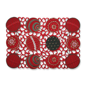 Ornaments Red-Green Placemat (Set of 2)
