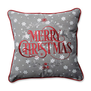 Snowy Christmas Grey-Red 16.5-inch Throw Pillow