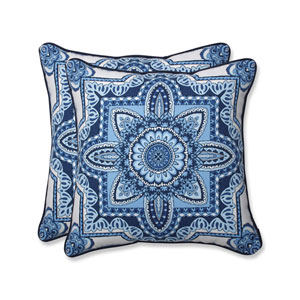 Outdoor / Indoor Malacca Blue/White 18.5-Inch Throw Pillow (Set of 2)
