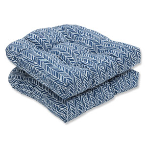 Outdoor / Indoor Herringbone Ink Blue Wicker Seat Cushion (Set of 2)