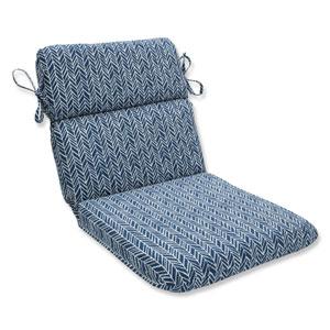 Outdoor / Indoor Herringbone Ink Blue Rounded Corners Chair Cushion