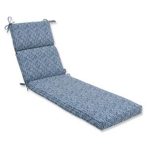 Outdoor / Indoor Herringbone Ink Blue Chaise Lounge Cushion