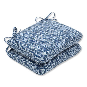 Outdoor / Indoor Herringbone Ink Blue Rounded Corners Seat Cushion (Set of 2)