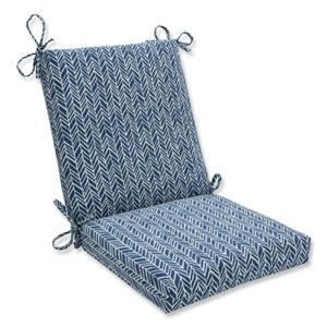 Outdoor / Indoor Herringbone Ink Blue Squared Corners Chair Cushion